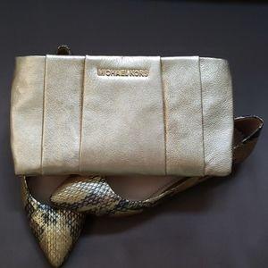 VTG Michael Kors gold leather evening bag